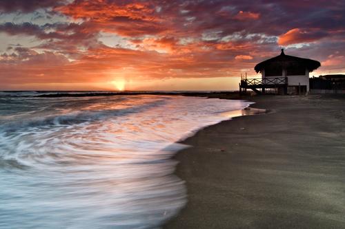 Tramonto,stabilimento,spiaggia,palafitta,Scorpion Bay,Ladispoli