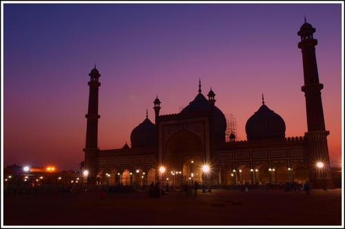 Twilight shot of one of the largest mosques in India.