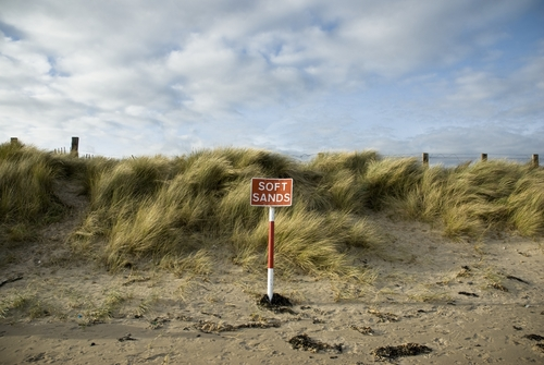 A warning for drivers on Donabate beach, Co. Dublin, Ireland.