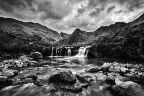 One of the Fairy pools with Sgurr an Fheadain in the background on the Isle of Skye.
