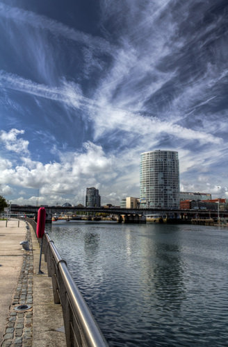 A view along the river Lagan from Queen's Island.