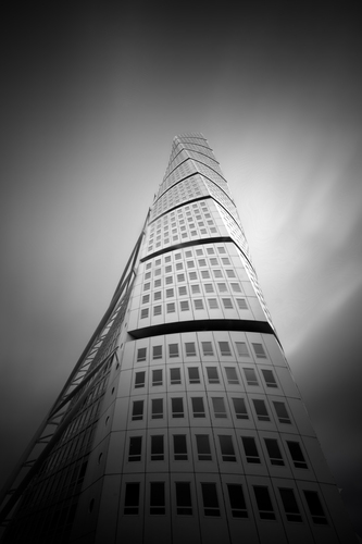 A long exposure shot of the Turning Torso building in Malmoe, Sweden
