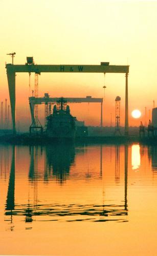 Sunset on the Titanic Shipyard Harland& Wolff Belfast  Northern Ireland
