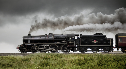 "A Stanier Black 5 (45305) climbs northwards towards Ais Gill summit with the ""Mersey Moorlander"" on the Settle & Carlisle railway on the 8th August 2011"