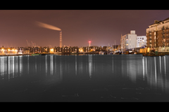 Grand Canal Dock looking towards Poolbeg in Dublin
