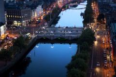 Evening Lights, Dublin City Center & the river Liffey.
