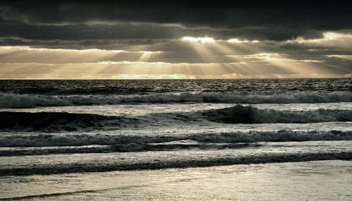 Evening sun light rays over the North Atlantic.