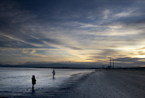 Evening on Bull Island with the Poolbeg Towers, Dublin, Ireland