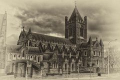 A beautiful cathedral located in the heart of Dublin.  Converted to black and white and given an antique plate feel.