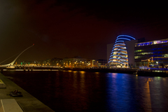 This photography was taken on 13th November 2011, from Sir John Rogerson's Quay, looking towards Dublin city centre and features the Dublin Convention Centre, which was lit blue to mark World Diabetes Day, and the Samuel Beckett Bridge.
