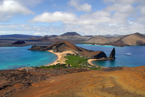 The hour-glass shaped Bartolome Island in the Galapagos.