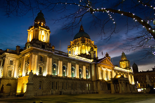 Belfast City Hall, Christmas time as the sun sets.