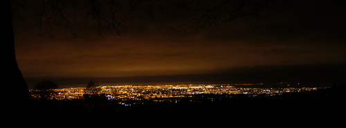Trunk at Viewpoint Overlooking Dublin from The Dublin Mountains at Night