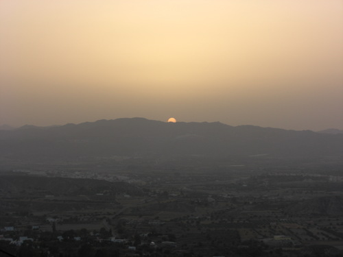 September sunset on the hills of Mojacar, Spain