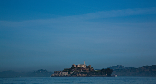 """Alcatraz Island in San Francisco Bay often to refered to as """"The Rock""""."""