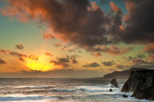 Sunset Ashleem Bay Achill Island Co Mayo