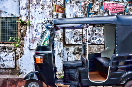 A rather elegant tuk-tuk spotted in the old town of Galle