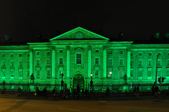 Panorama of Trinity College light up for Paddy's Day.