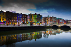 This picture is taken in Dublin city centre showing beautiful reflection of  O'Connell's bridge and buildings along the quay