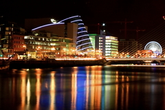 Dublin at night showing Convention centre, Harp Bridge and the giant wheel near O2 arena