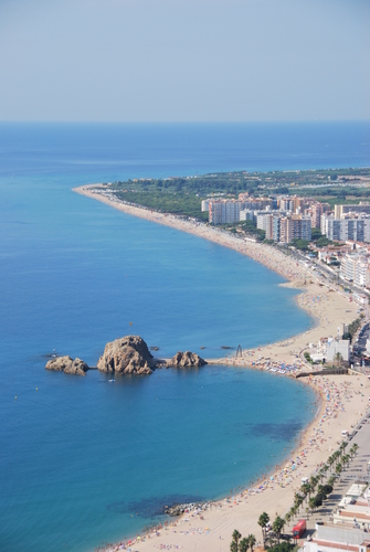 The coastline of Blanes in Spain, taken from a high viewpoint