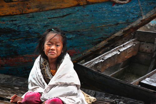 Sea gypsy child on Tonle Sap lake