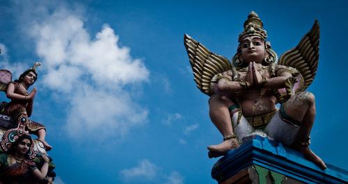 A statue of a Hindu God; Garuda. He is the mount of Hindu Major God; Lord Vishnu and carries Lord Vishnu on his shoulders in the skies!