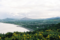 A view from Dalkey hill across the bay to Bray head and the Wicklow mountains.