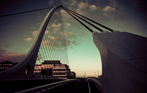Dublin's Samuel Beckett Bridge crosses the River Liffey. Designed by Santiago Caltrava it is fast becoming one of the most recognised(and photographed) landmarks in Dublin today. With this shot i have tried to look at it from a different angle and in a different way focusing on lines and distorting colour.