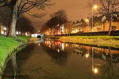 Huband Bridge and Grand Canal, Dublin , Ireland, Feb. 2012.  Taken a short time after sunset.