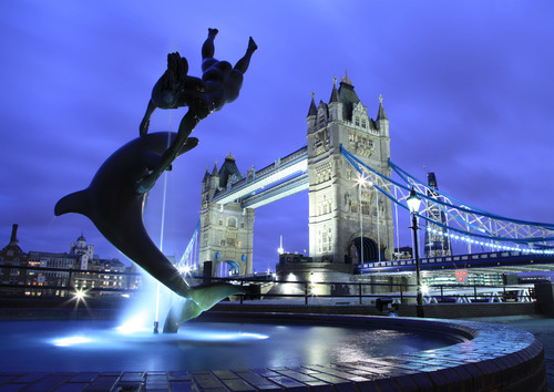 Tower Bridge, London, England, taken not long after sunset Jan. 2012.