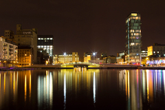 This is a photo I took for a college project. I used a 20sec exposure time and I think it turned out pretty well. It was taken in the docklands of Dublin City in December.