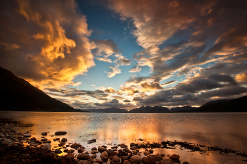 Sunset on Loch Linnie Highlands of Scotland.