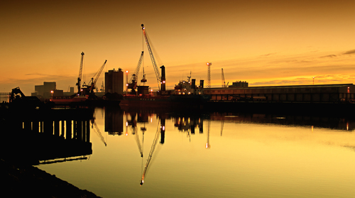 Belfast docks, just before sunrise, on the Herdman Channel.