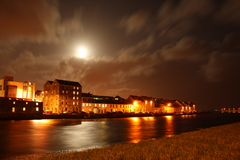 The Iconic Long Walk in Galway, bathed in moonlight. Common site for anyone approaching Galway City from the Claddagh
