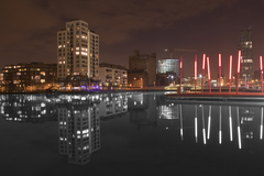 Long exposures at Grand Canal Dock in Dublin. Tweaked reflection colours to do black and white.