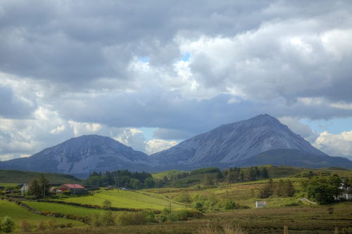 A view of Errigal and Mackoght mountain, part of the Derryveagh Mountains. 