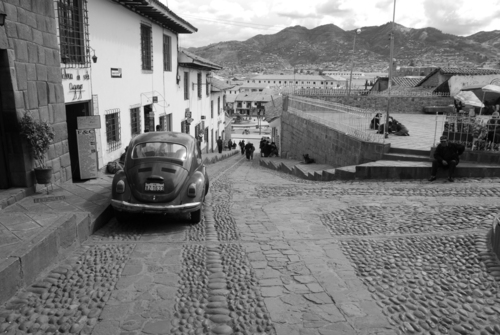 One of the many VW Beetles on the streets of Cusco.
