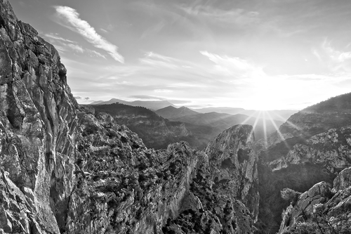 Above the gorge at El Chorro; where the Guadalhorce river passes through the dramatic limestone hills northwest of Malaga. Colour version also available.