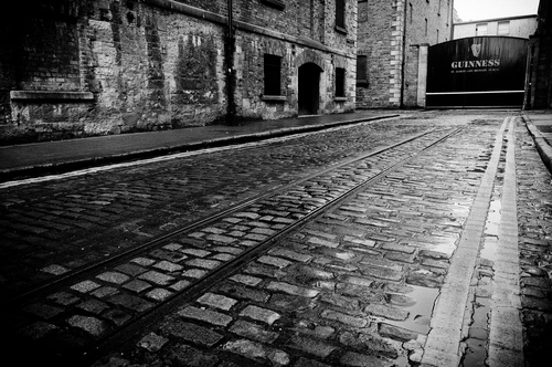 Old gates to Guinness Storehouse at St. James' Gate, Dublin.
