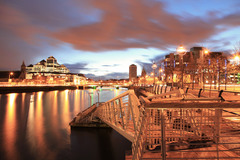 This view is from the Docklands area of Dublin and was taken on an April evening not long after sunset.  On the horizon Liberty Hall and the Custom House can be seen, both of which are among Dublin's most recognisable landmarks.