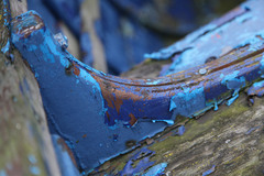 On this particular October morning the weather in Howth was not quite as dry as I had hoped for. I had been planning on walking along Howth's cliffs.  Instead I decided to wander around the harbour and to take some close-up shots of some of the charming old boats and of the paint flaking off a number of them.  Some of the patterns and colours were immensely pleasing!  I enjoyed studying them so much that in the end I was glad it had been raining!