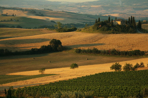 "The Val d'Orcia, or Valdorcia, is a region of Tuscany, central Italy, which extends from the hills south of Siena to Monte Amiata. It is characterised by gentle, carefully cultivated hills occasionally broken by gullies and by picturesque towns and villages such as Pienza (rebuilt as an ""ideal town"" in the 15th century under the patronage of Pope Pius II), Radicofani (home to the notorious brigand-hero Ghino di Tacco) and Montalcino (the Brunello di Montalcino is counted among the most prestigious of Italian wines). It is a landscape which has become familiar through its depiction in works of art from the Renaissance painting to the modern photograph.