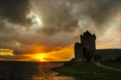 The Sun sets at Dunguire Castle Kinvara, Co Galway.