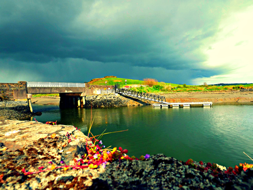 A nice shot of the bridge into Timoleague that captures the new marina and the looming aggressive rain cloud.