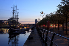 The Jeannie Johnson Famine Ship is docked just moments from Jacobs Inn in the River Liffey in Dublin's Docklands.