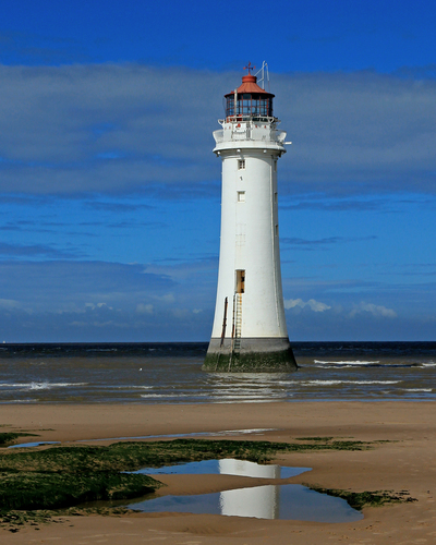 At Wallasey, Merseyside - one of the few lighthouses you can get close to - depending on the tide.