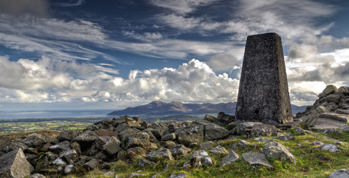 A view from the summit of Slieve Croob towards the Mourne Mountains and the Irish Sea