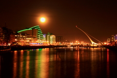 Dublin city center during full moon night. The moon was just coming up behind the convention center when I took this shot.