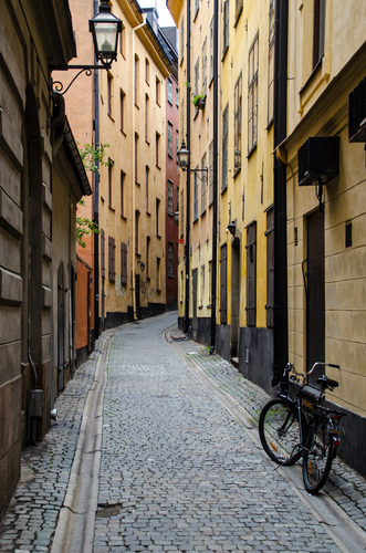 This is one of the small streets in the Gamla Stan (Old Town) in Stockholm, Sweden